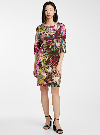 FUZZI Patterned Black Floral print dress for women