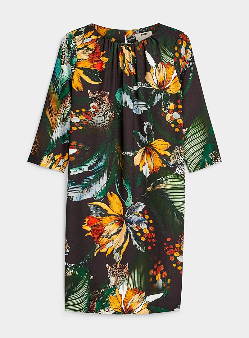 FUZZI Green Tropical flower shift dress for women