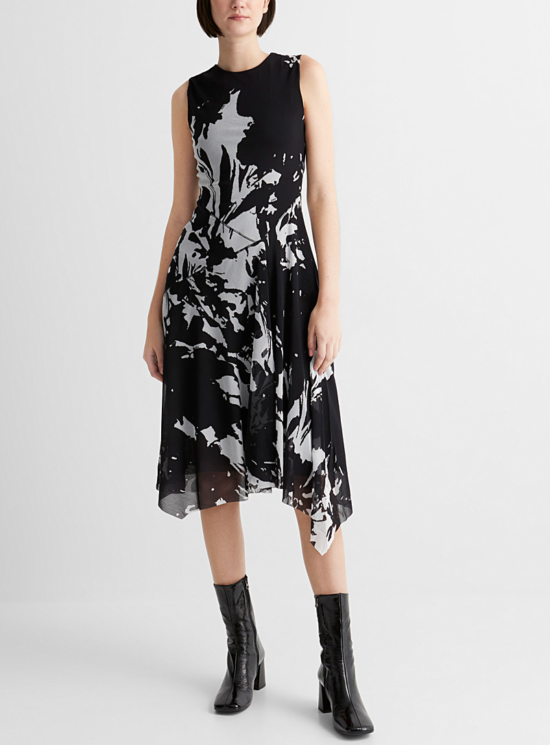 FUZZI Black and White Abstract art asymmetric dress for women