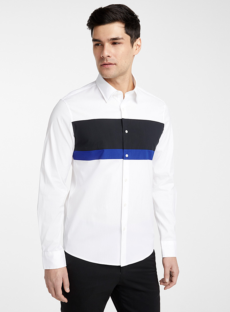 Michael Kors White Tricolour shirt  Slim fit for men