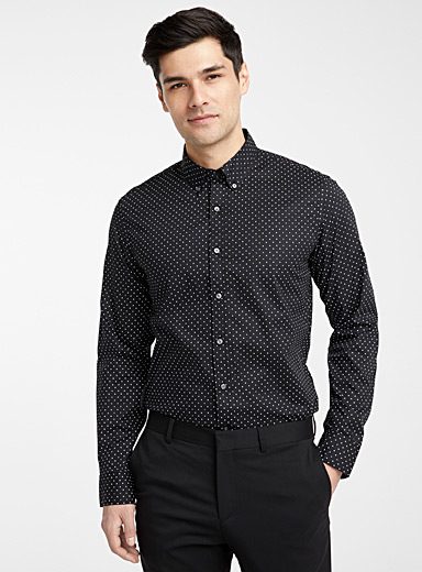 Michael Kors Black Polka dot shirt  Slim fit for men