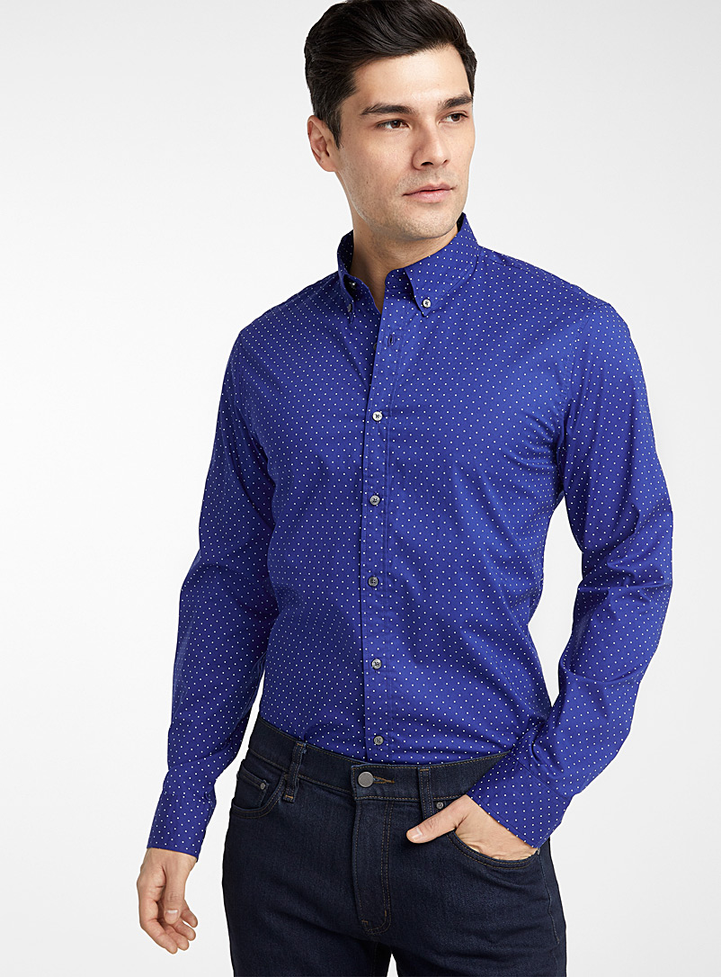 Michael Kors Dark Blue Polka dot shirt  Slim fit for men