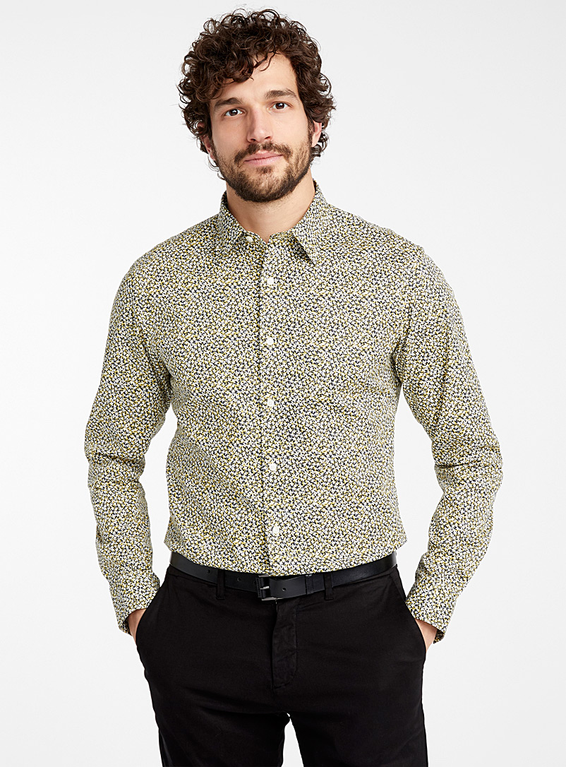 Michael Kors Golden Yellow Sunny mini flower shirt  Slim fit for men