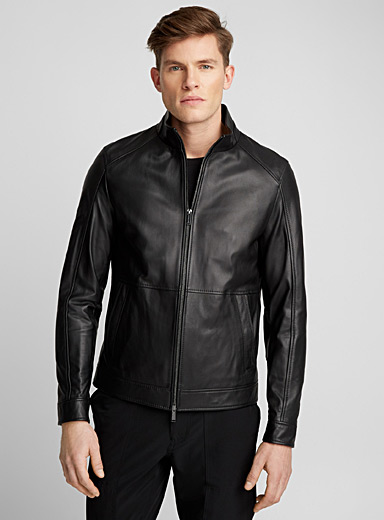 High-collar leather jacket