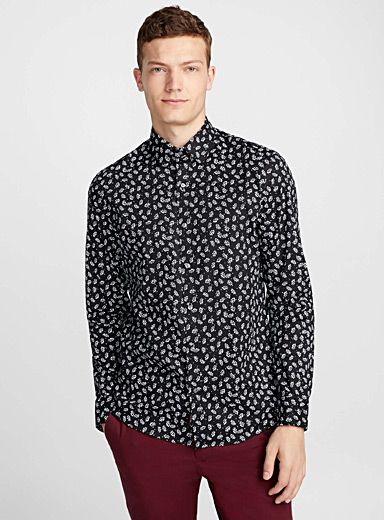 Stencil leaves shirt  Semi-tailored fit