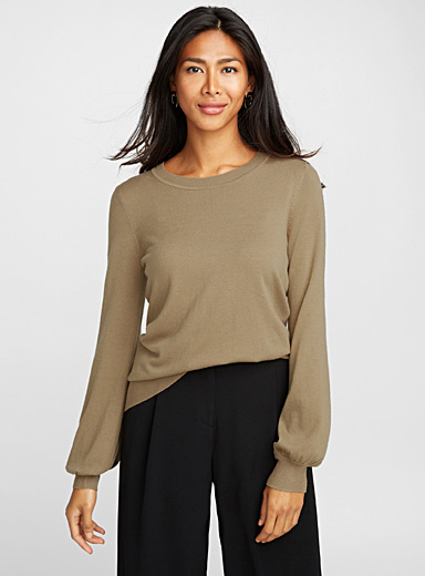 Le pull caramel manches bouffantes