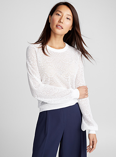 Puff-sleeve lace sweater