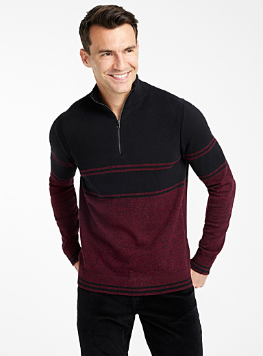 Tone-on-tone colour-block half-zip sweater