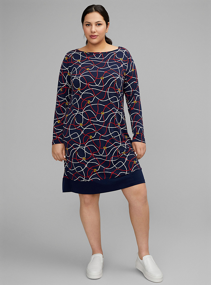 Michael      Michael Kors Patterned Blue Logo & rope poncho dress Plus size for women