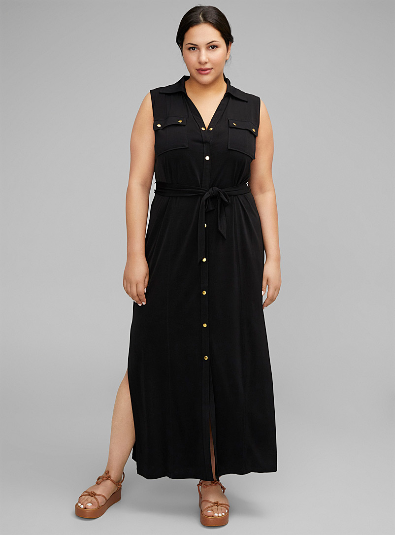 Michael      Michael Kors Black Gold button maxi shirtdress Plus size for women