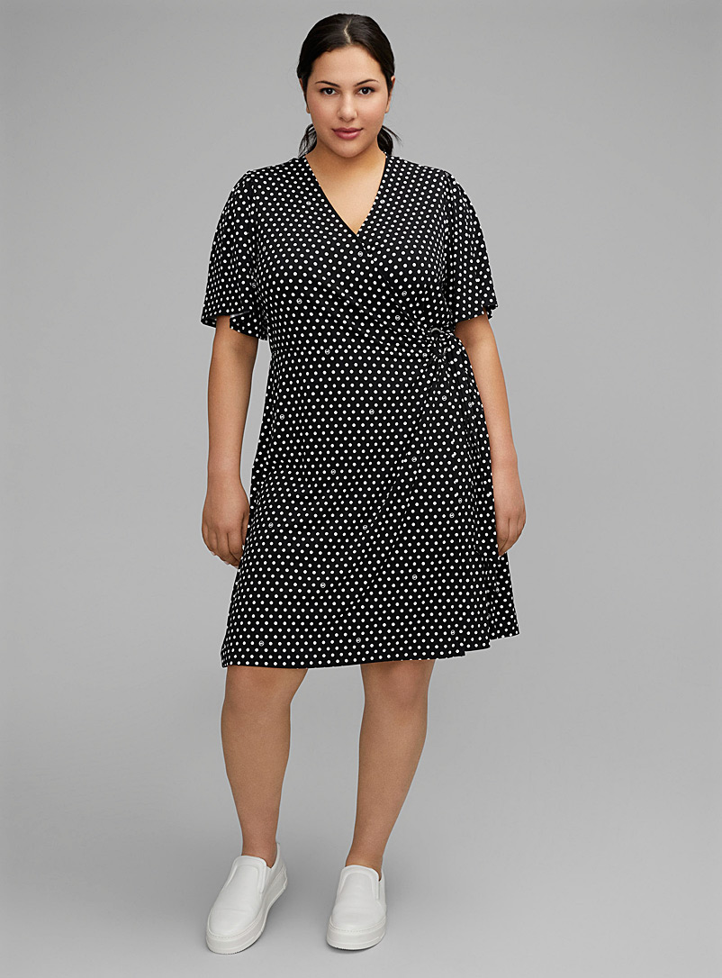 Michael      Michael Kors Patterned Black Retro dot wrap dress Plus size for women