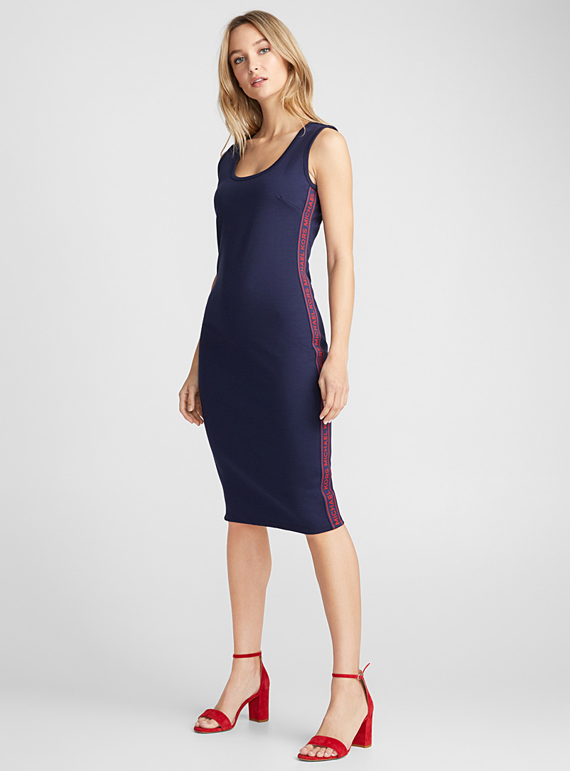 Logo band slim-fit dress - Bodycon - Patterned Blue