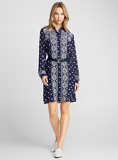 Paisley scarf shirtdress