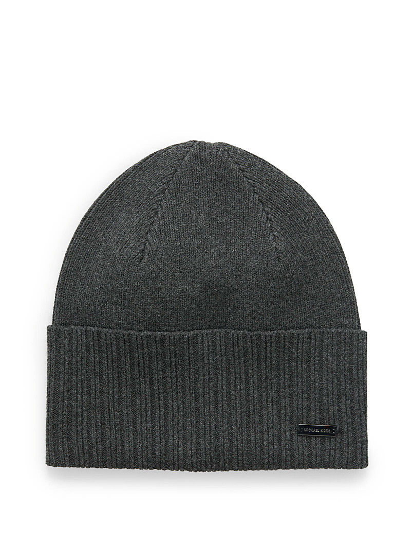 Michael Kors Charcoal Mixed rib cuffed tuque for men