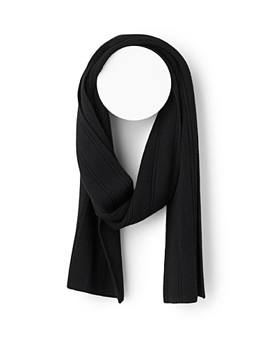 Michael Kors Black Mixed rib scarf for men