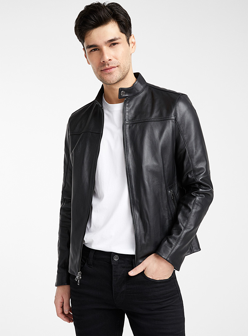 Michael Kors Black Biker leather jacket   for men