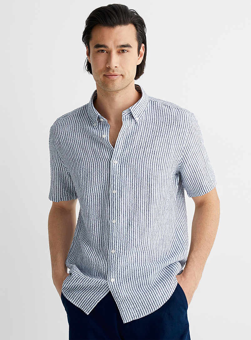 Michael Kors Marine Blue Seersucker twin-stripe shirt Slim fit for men