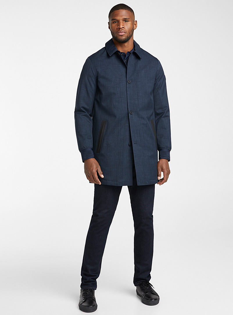 Michael Kors Dark Blue Heathered indigo trench coat for men
