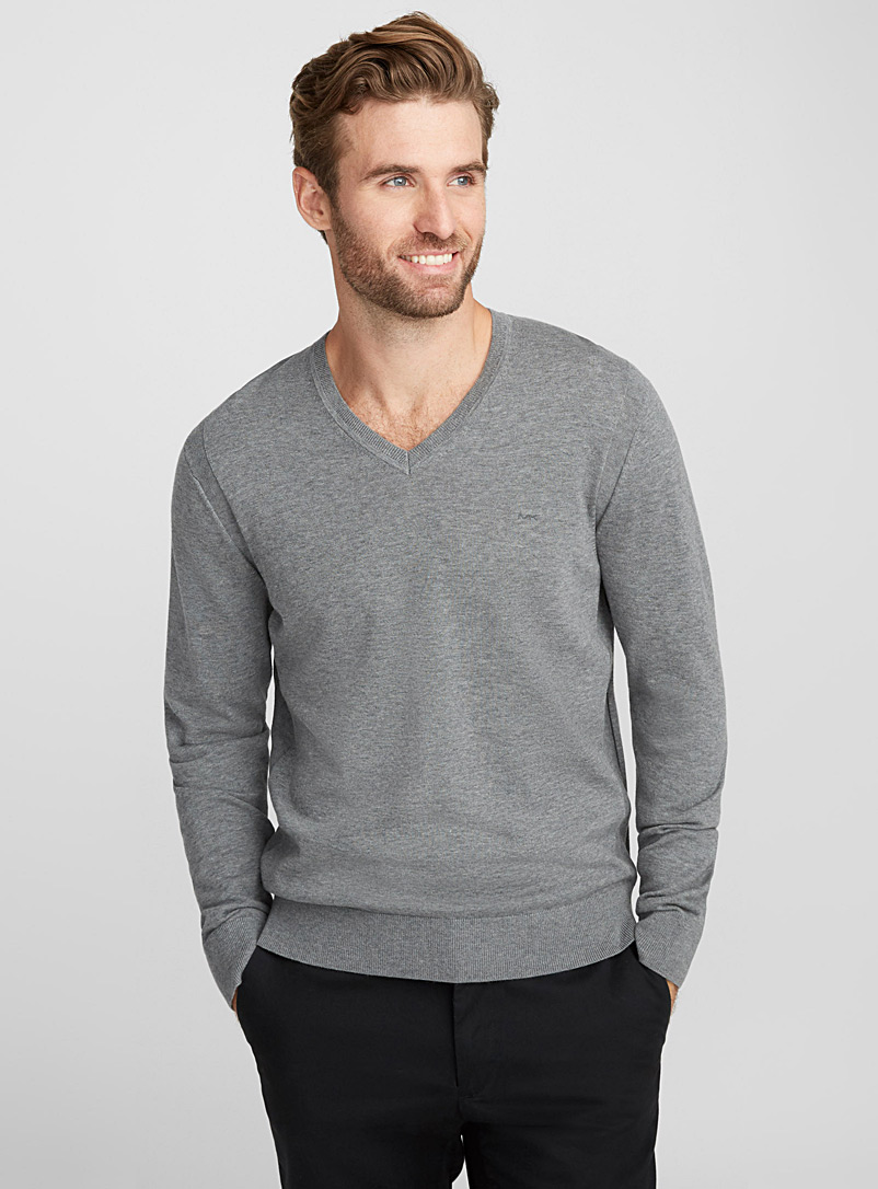 MK minimalist V-neck sweater - Cotton - Grey