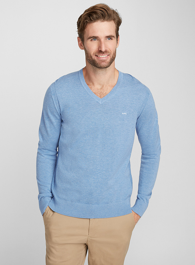 MK minimalist V-neck sweater - Cotton - Blue