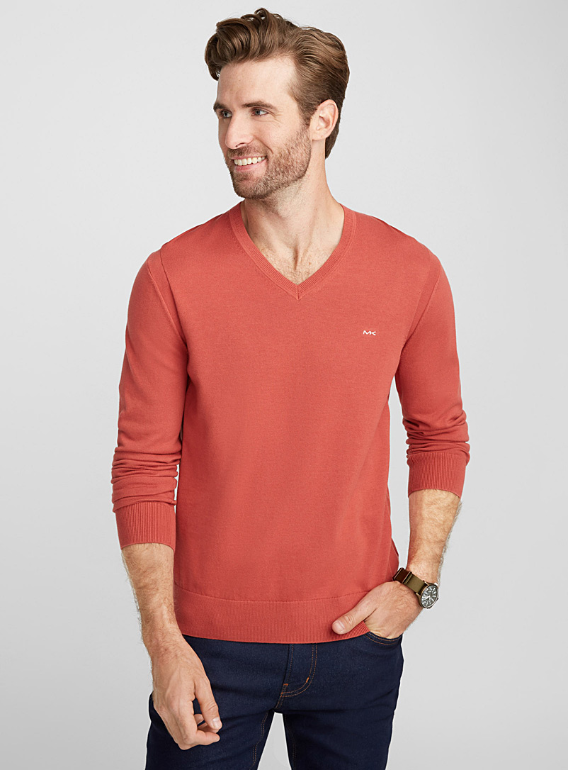 MK minimalist V-neck sweater - Cotton - Orange