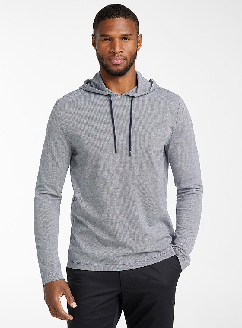 Michael Kors Marine Blue Two-tone piqué hooded T-shirt for men