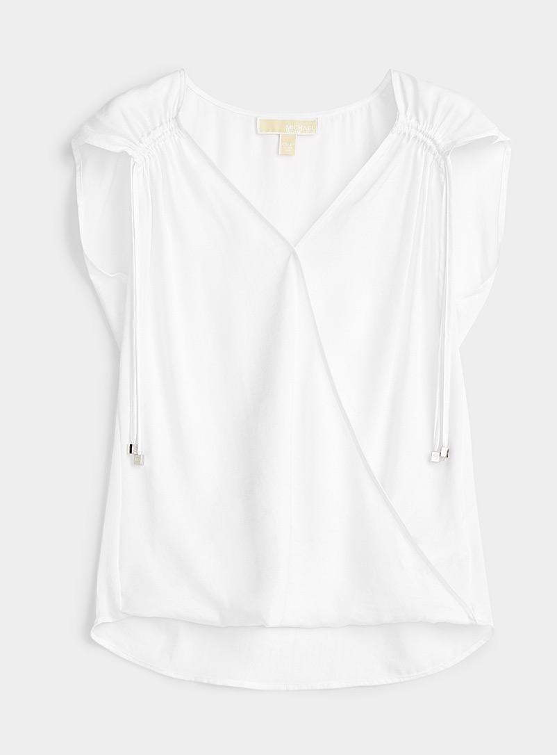 Michael      Michael Kors White Gathered detail crossover blouse for women