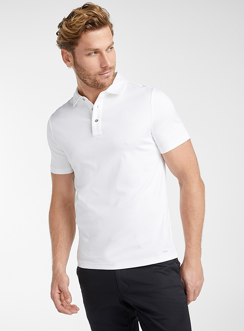 Michael Kors White MK jersey polo for men