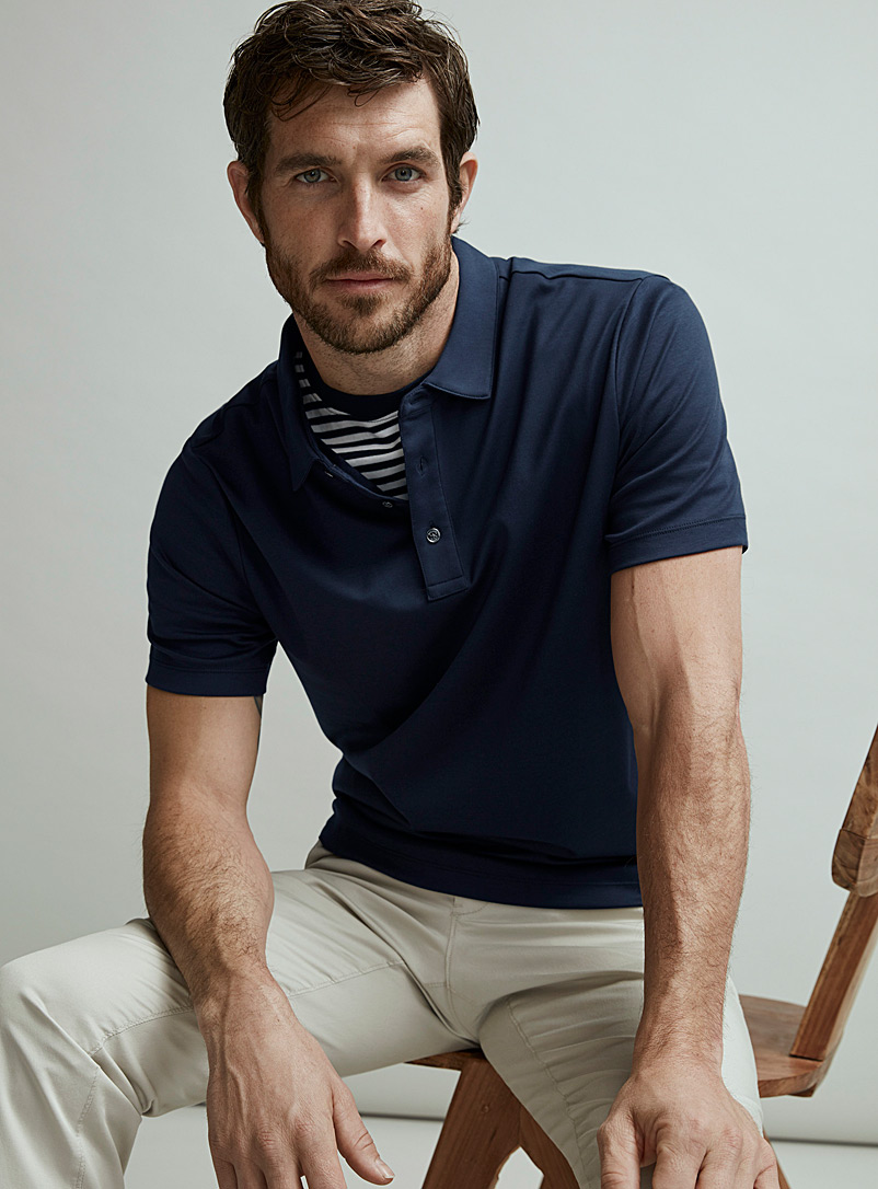 Michael Kors Marine Blue MK jersey polo for men