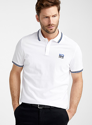 Deconstructed logo piqué polo