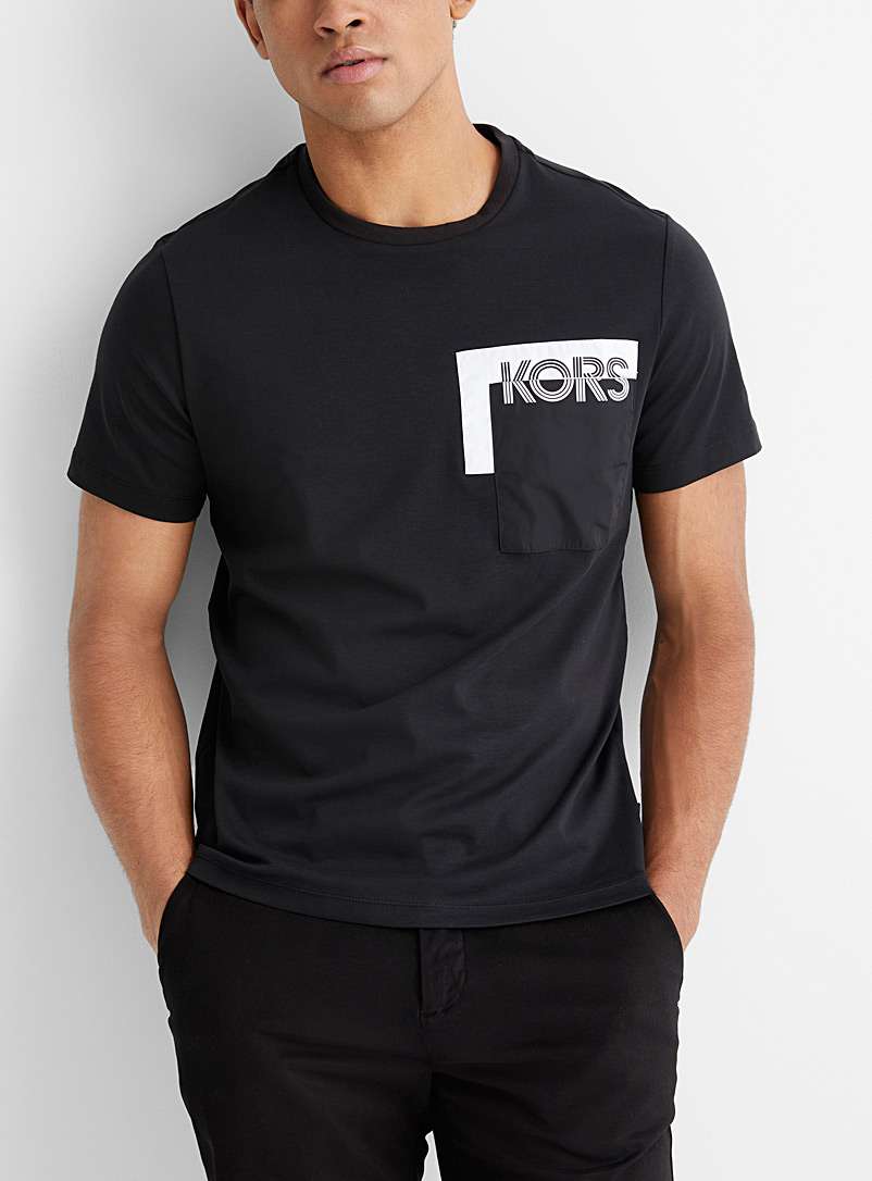Two-tone pocket logo T-shirt