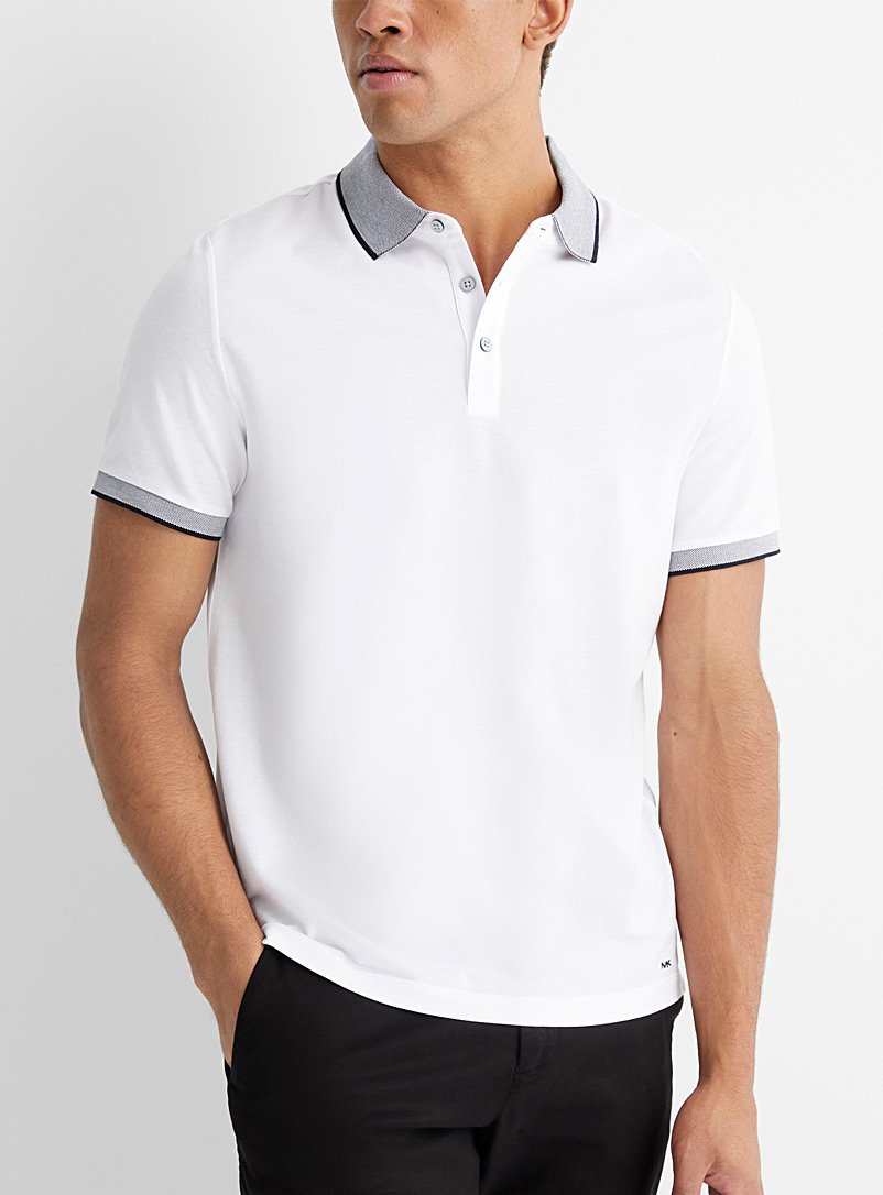 Michael Kors White Two-tone piqué accent polo for men