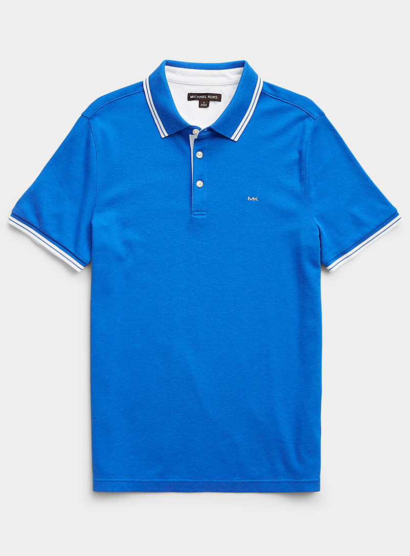 Michael Kors Marine Blue Accent-stripe polo for men