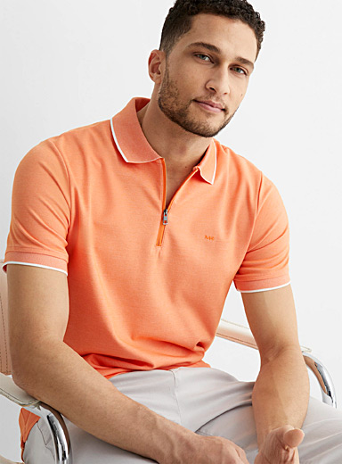 Zip collar piqué polo