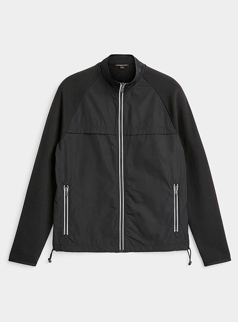 Michael Kors Black Mixed media track jacket for men