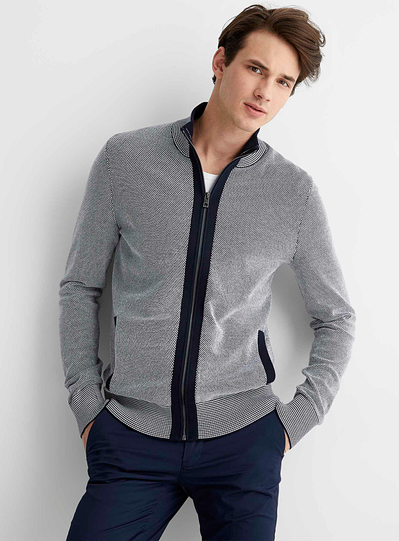 Michael Kors Marine Blue Textured two-tone knit cardigan for men