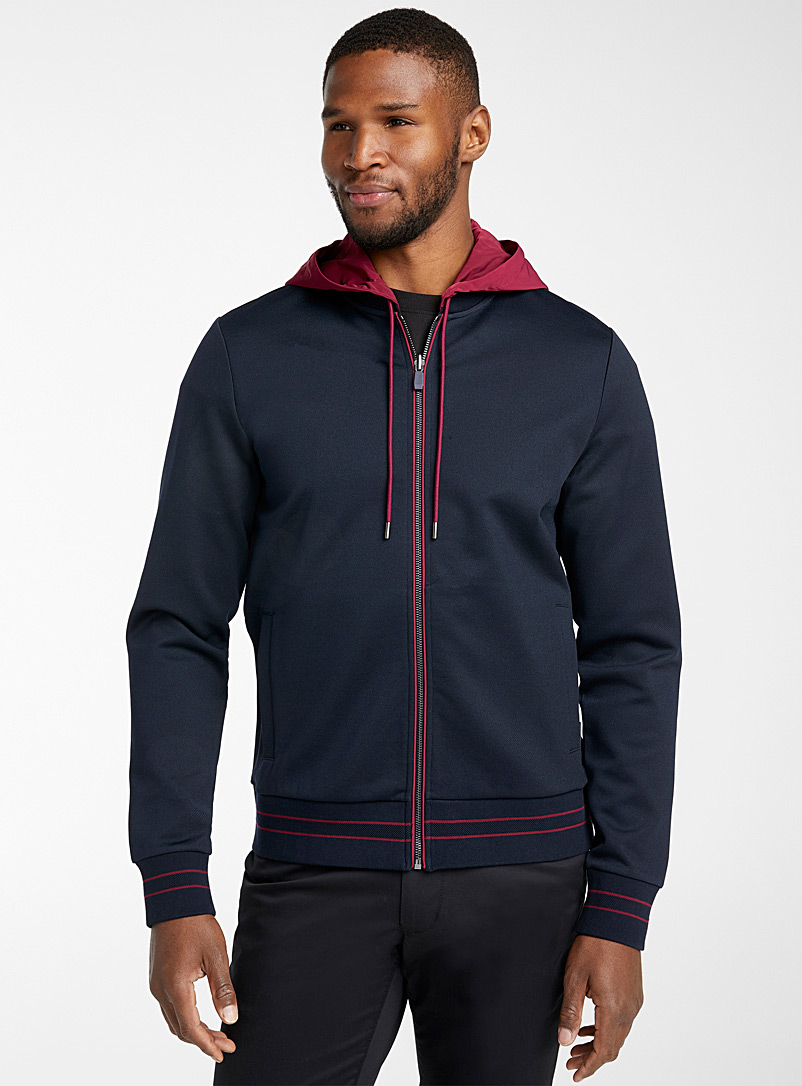 Michael Kors Marine Blue Hooded bomber cardigan for men