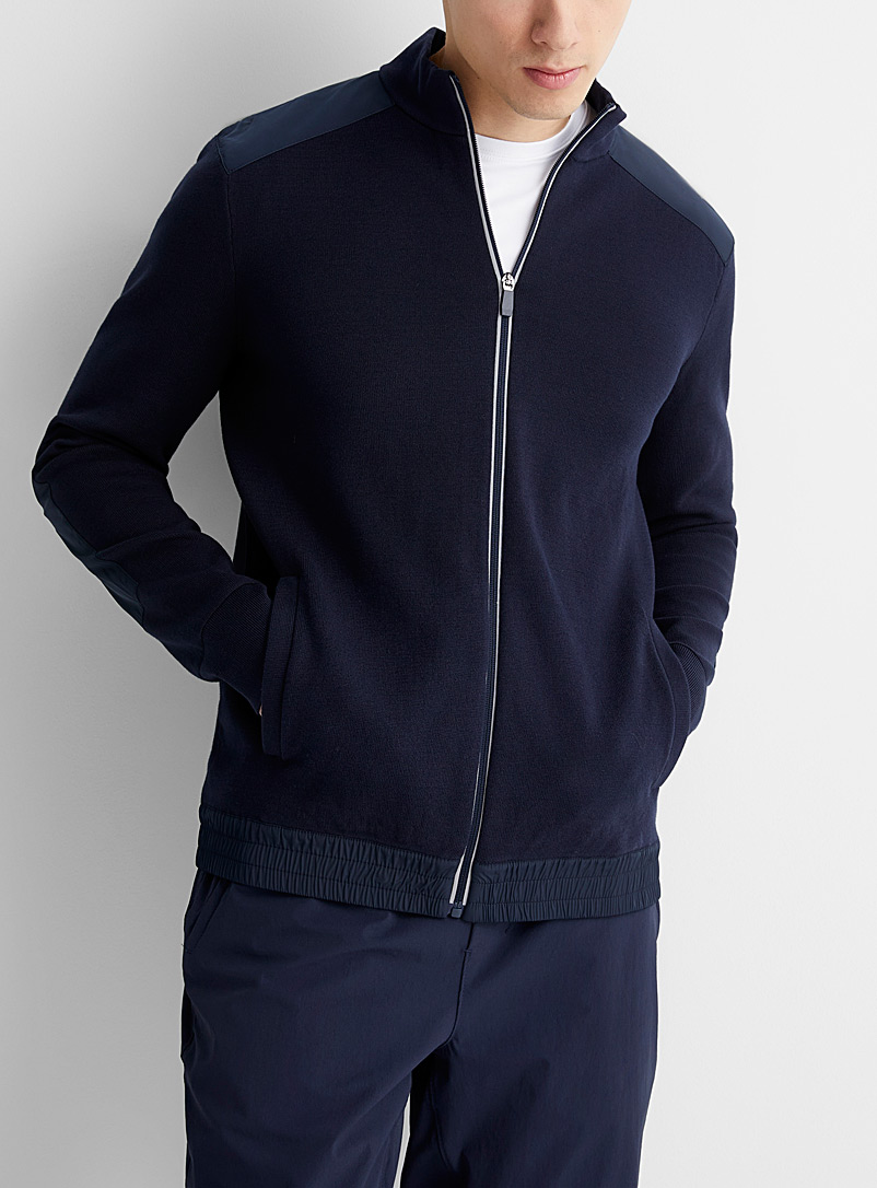 Michael Kors Dark Blue Mixed media cardigan for men