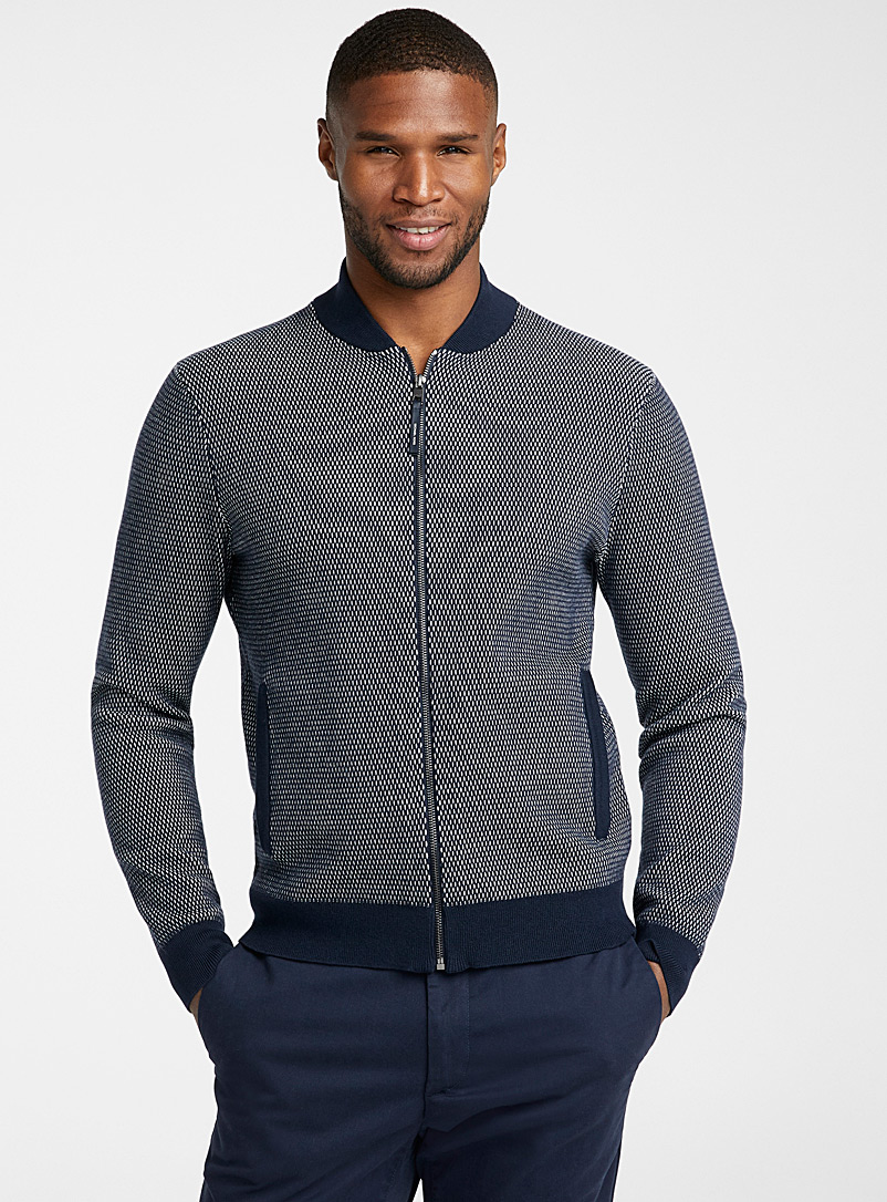 Michael Kors Dark Blue Two-tone knit baseball cardigan for men
