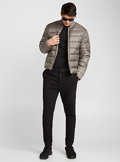 Steel-grey quilted bomber jacket