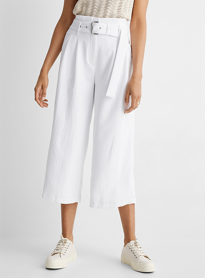 Michael      Michael Kors White White pleated-waist culottes for women