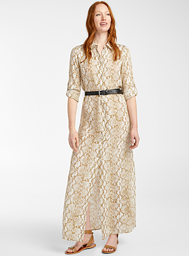 Michael      Michael Kors Patterned Brown Snakeskin belted dress for women