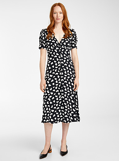 Michael      Michael Kors Black and White Romantic petal midi dress for women