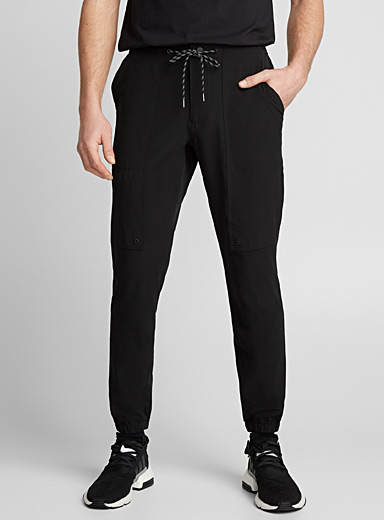 Monochrome stretch fabric joggers