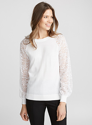 Le pull manches bouffantes dentelle