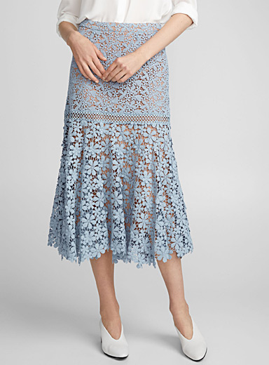 Guipure floral skirt