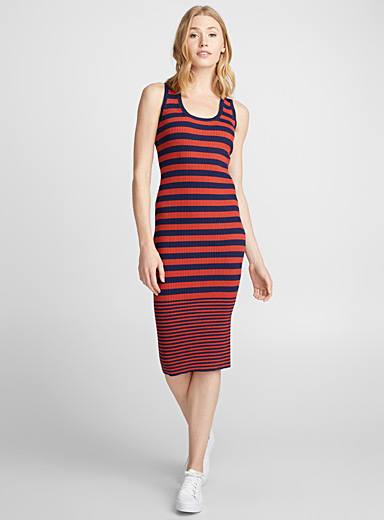 Two-tone stripe fitted dress