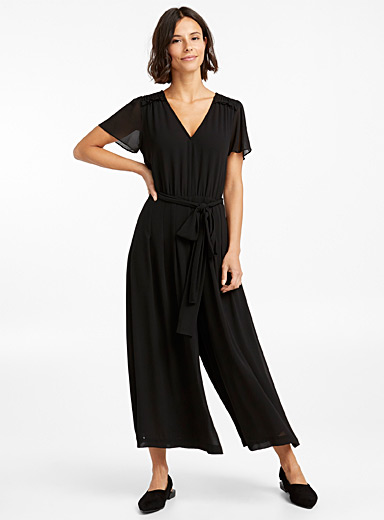 Fluid gathered shoulder jumpsuit