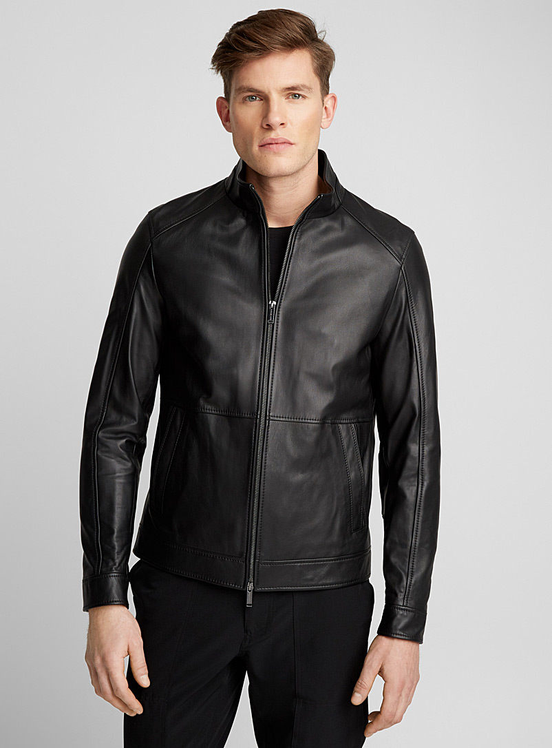 d90f4e049 High-collar leather jacket