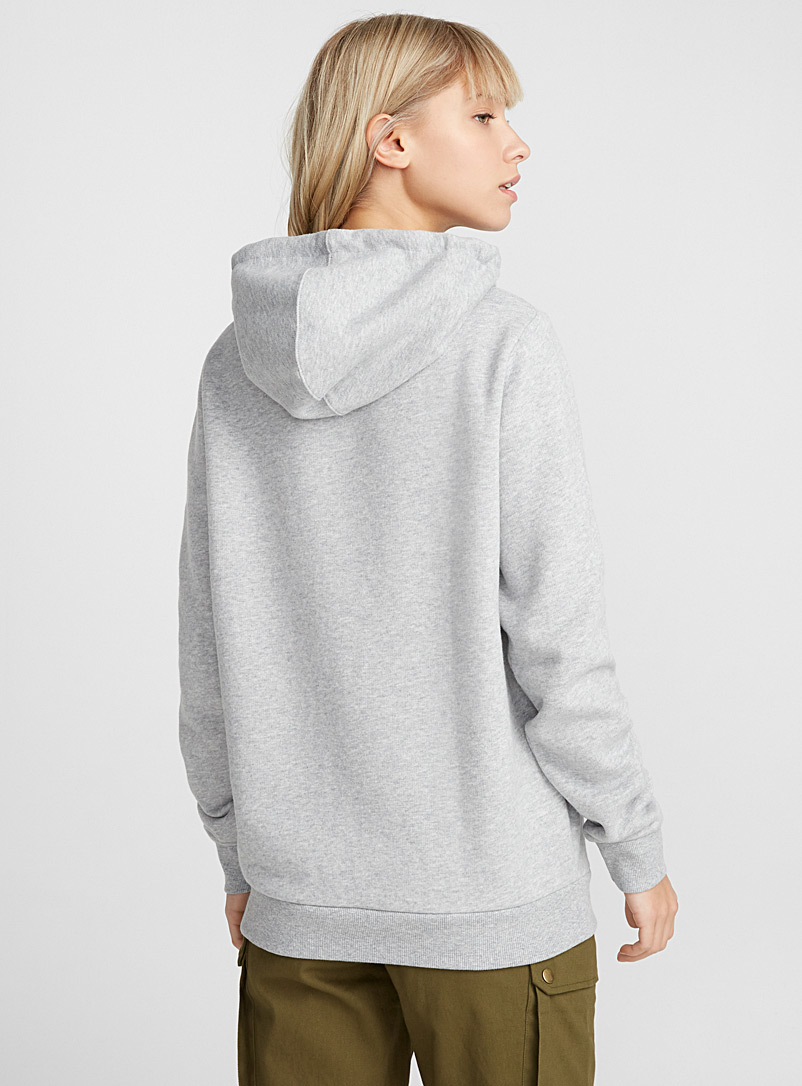 Twik Light Grey Solid essential hoodie for women